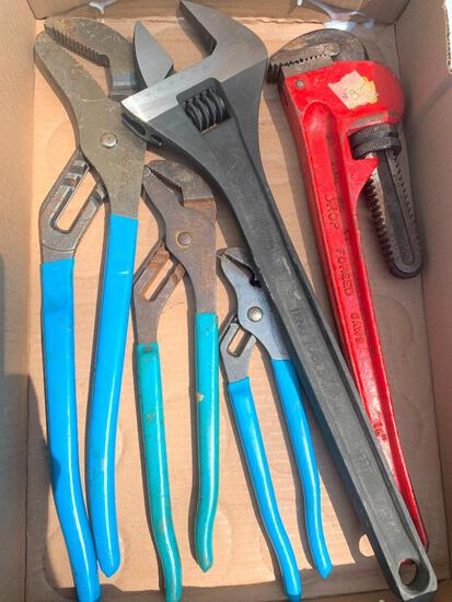 Large Crescent Wrench, 18 Inch Pipe Wrench and Channel Locks