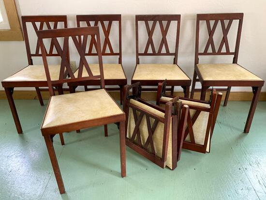 8 Piece Set of Wooden Covered Folding Chairs - As Pictured