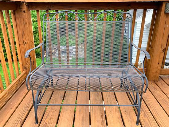 """Metal Loveseat Glider. This is 35"""" Tall x 42"""" Long x 17"""" Deep - As Pictured"""