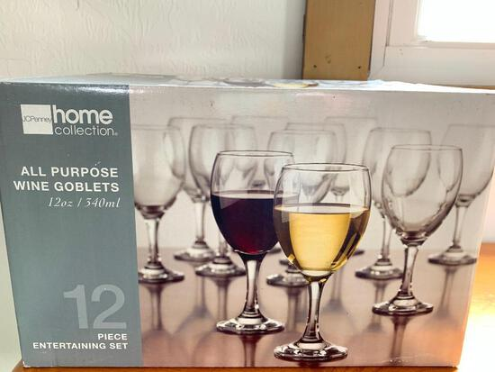 12 Piece Wine Glass Set New in Box by JcPenney- As Pictured