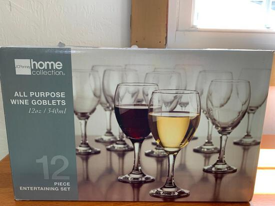 12 Piece Wine Glass Set New in Box By JcPenney - As Pictured