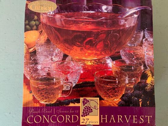 Pressed Clear Glass Punch Bowl Set in Box - As Pictured