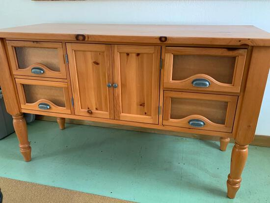 Side Buffet Cabinet w/4 Drawers. In Great Condtion.This is 3' Tall x 5' Wide x 2' Deep - As Pictured