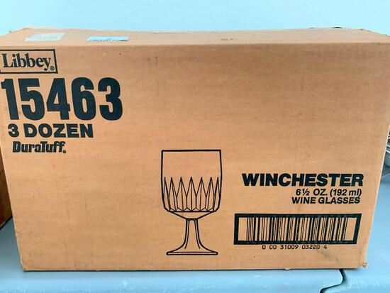 Box of 3 Dozen Wine Glasses. Hold 6.5 oz. Appear to be New in Box - As Pictured