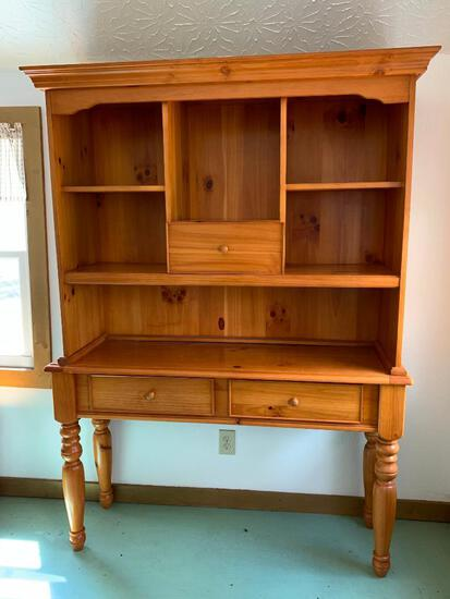 """2 Piece Solid Wood Hutch w/ 3 Drawers. This is 6' 5"""" Tall x 4' 8"""" Wide x 1' 6"""" Deep - As Pictured"""