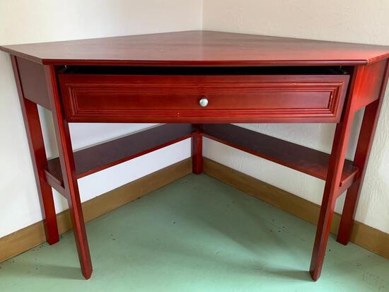 """Wood Corner Table. Has a Broken Drawer. This is 30"""" Tall x 49"""" Wide x 32"""" Deep - As Pictured"""