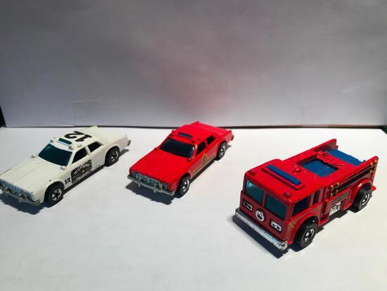 Hot Wheels 1976 Firedash Eater, 1977 Fire Chief, 1977 Highway Patrol