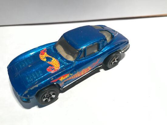 Hot Wheels 1979 63 Corvette Split Window Blue Hot Wheels Logo