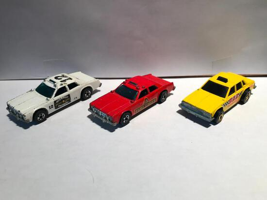 Hot Wheels 1982 Taxi, 1977 Fire Chief, 1977 Highway Patrol