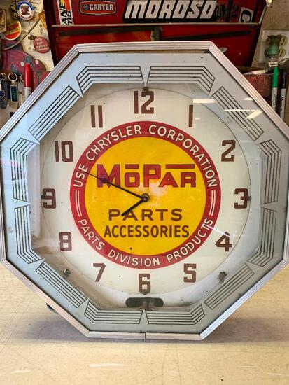 """Mopar Neon Clock. This is 18"""" x 18"""". We Plugged it in and the Neon Does Not Work.- As Pictured"""