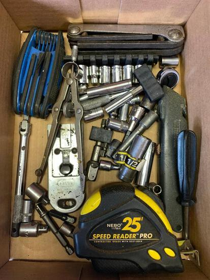 Lot of Compass, 25' Tape Measure, Sockets and More - As Pictured