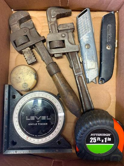 Misc Lot of Box Knives, 25' Tape Measure, Pro Level and Angle Finder and More - As Pictured