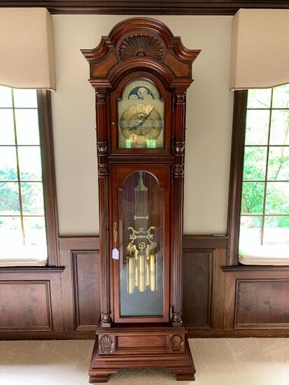 Sligh Mahogany Grandfathers Clock # 0214-2-W I Moon Phase Dial. - As Pictured