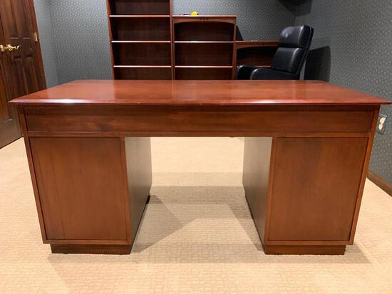 """Ethan Allen Solid Wood Desk w/9 Drawers and Keys. This is 30"""" Tall x 59"""" Wide x 28"""" Deep"""