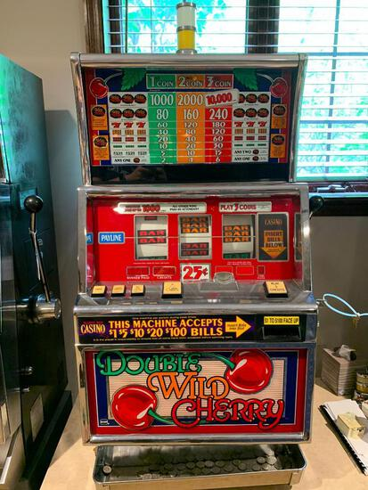 """Double Wild Cherry Slot Machine w/Keys. This is 42"""" Tall x 24"""" Wide x 20"""" Deep. - As Pictured"""