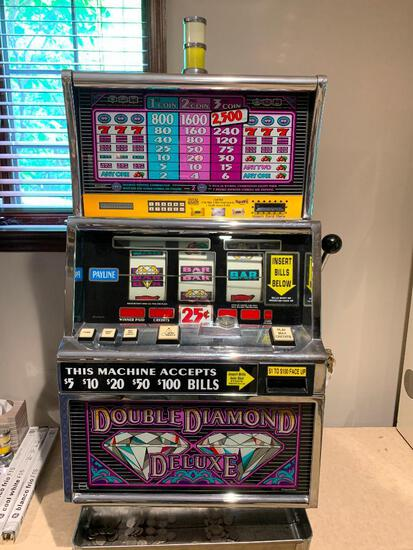 """Double Diamond Deluxe Slot Machine w/Keys. This is 42"""" Tall x 24"""" Wide x 20"""" Deep - As Pictured"""