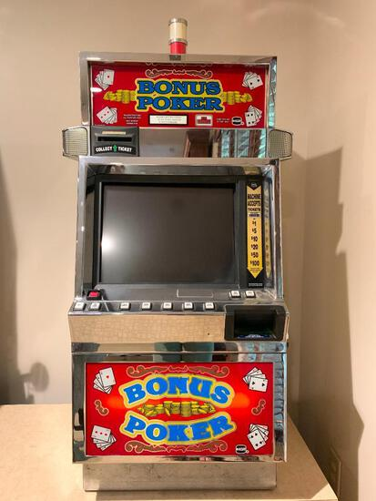 "Bonus Poker Slot Machine w/Keys. This is 42"" Tall x 24"" Wide x 20"" Deep - As Pictured"