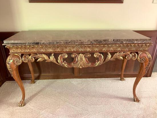 """Ornate Wood and Marble Top Sofa Table. This is 33"""" Tall x 59.5"""" Wide x 22"""" Deep - As Pictured"""