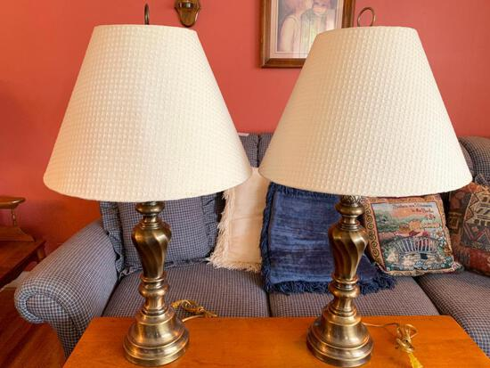 """Pair of Brass Lamps. They are 32"""" Tall w/Shades - As Pictured"""