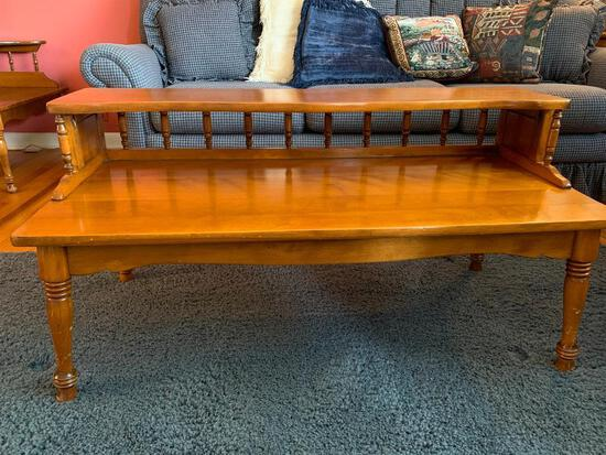 """Two Tiered Hard Rock Maple Coffee Table. This is 21"""" Tall x 42"""" Wide x 19"""" Deep - As Pictured"""