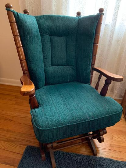 Platform Wood Rocker. Has Some Wear on Arms - As Pictured