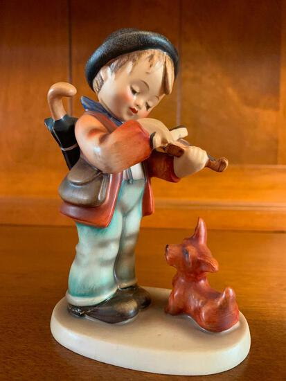 """Hummel Boy with Dog Puppy Love Violin. This is 5 1/4"""" Tall - As Pictured"""