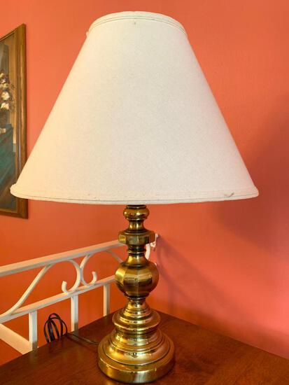 """Single Brass Lamp w/Shade. This is 27"""" Tall - As Pictured"""