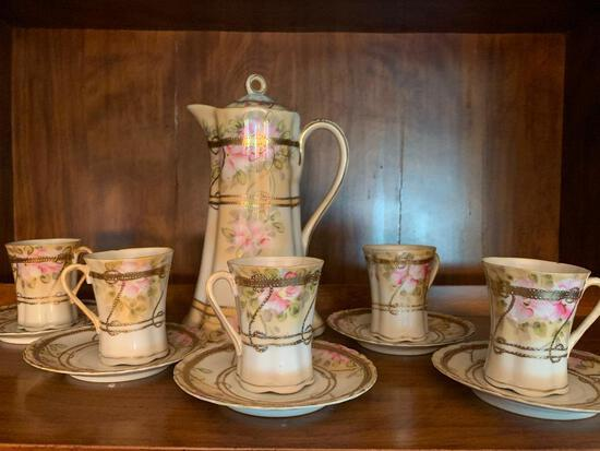 Hand Painted China Tea Set w/Pitcher and 5 Cups and Saucers - As Pictured