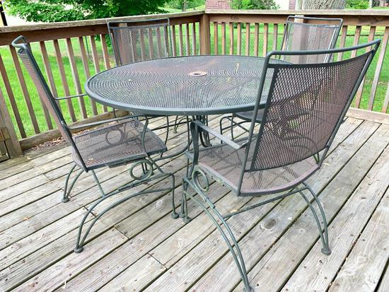 """Wrought Iron Patio Set w/Table and 4 Chairs. This is 28"""" Tall x 48"""" in Diameter.- As Pictured"""
