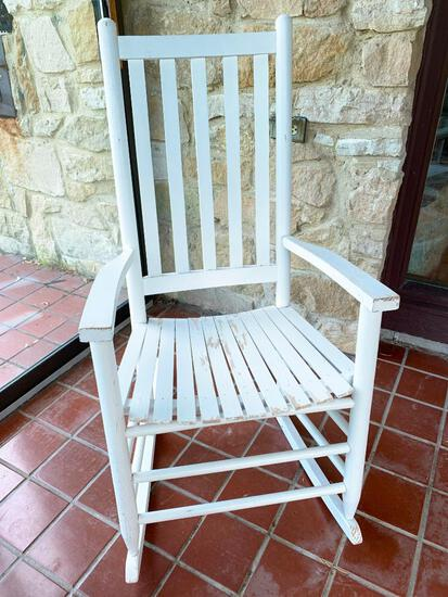 """Wood Rocking Chair. This is 43"""" Tall x 18"""" Deep Seat. Needs Some Paint.- As Pictured"""