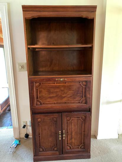 """Press Board Bookcase w/Writing Desk. This is 73"""" tall x 30"""" Wide x 17"""" Deep - As Pictured"""
