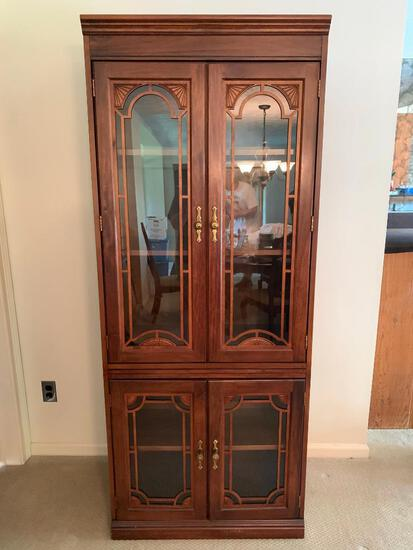 """Fiber Board China Cabinet w/Glass Doors. This is 73"""" Tall x 30"""" Wide x 17"""" Deep - As Pictured"""