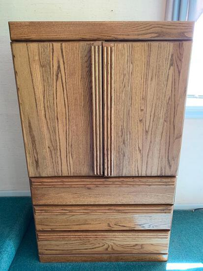 """Solid Wood Stand Up Dresser w/3 Drawers. This is 60"""" Tall x 35.5"""" Wide x 19"""" Deep - As Pictured"""