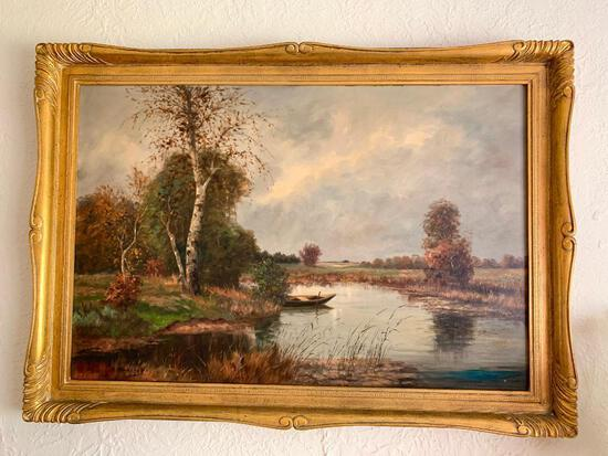 """30"""" x 42"""" Framed Oil on Canvas """"Glory Waters"""" Vienna Austria - As Pictured"""