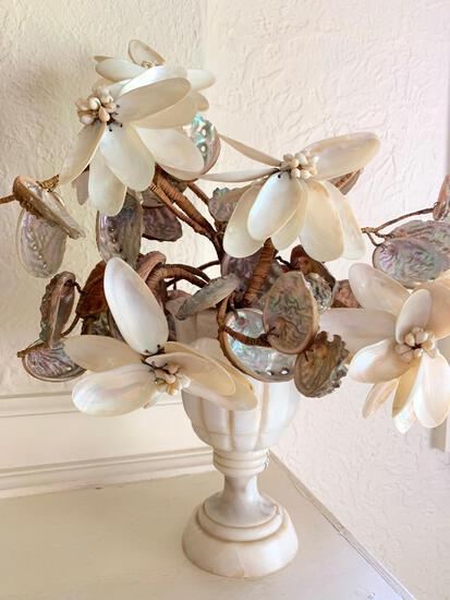 """Flower Arraignment Made Out of Shells in Vase. This is 17"""" Tall - As Pictured"""