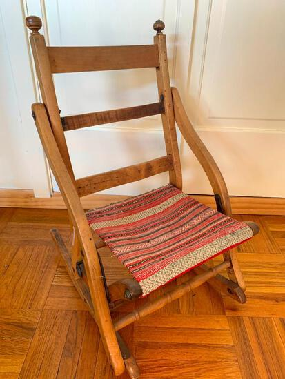 """Adorable Youth Size Folding Wood Rocker. This is 25"""" T x 15"""" W x 11"""" D - As Pictured"""