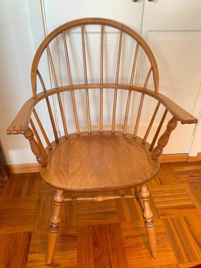 """Round Back Wood Chair. This is 37 """" T x 23"""" W x 17"""" D- As Pictured"""