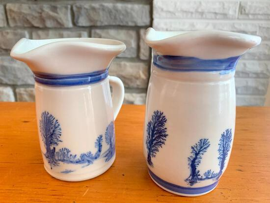 """Two Old World Pottery Pitchers. They are 5"""" Tall - As Pictured"""