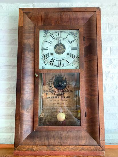 """Brass & Wood Mantle Clock by Chauncey Jerome. This is 26"""" T x15.5"""" W x 4.5"""" D - As Pictured"""