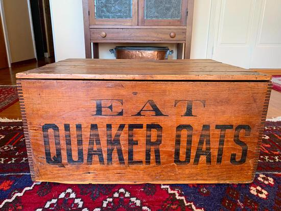"""Antique Quaker Oats Wood Crate. This is 12"""" T x 25.5"""" W x 18.5"""" D - As Pictured"""