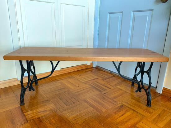 """Wood & Cast Iron Bench. This is 17"""" T x 49"""" W x 14"""" D - As Pictured"""