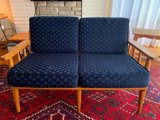 """Oak Mid-Century Loveseat w/Cushion. This is 29"""" T x 48"""" W x 27"""" D - As Pictured"""