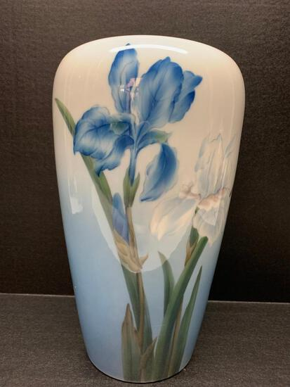 """Large Royal Copenhagen Porcelain Vase w/Iris Design. This is 12"""" Tall - As Pictured"""