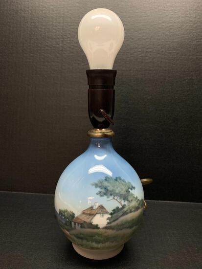 """Royal Copenhagen Porcelain Lamp w/Cottage Design. This is 13"""" Tall - As Pictured"""