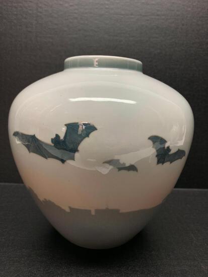 "Royal Copenhagen Porcelain Vase w/Bat Design. This is 8"" Tall - As Pictured"