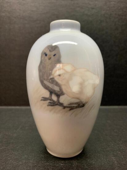 """Royal Copenhagen Porcelain Vase w/Baby Chick Design. This is 4.5"""" Tall - As Pictured"""
