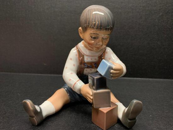 "Dahl-Jenson Copenhagen Porcelain Figurine ""Boy w/Blocks"". This is 5.5"" Tall - As Pictured"