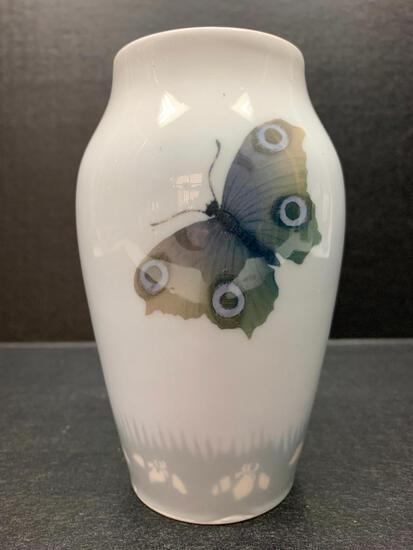 """Royal Copenhagen Porcelain Vase w/Butterfly Design. This is 5.5"""" Tall - As Pictured"""