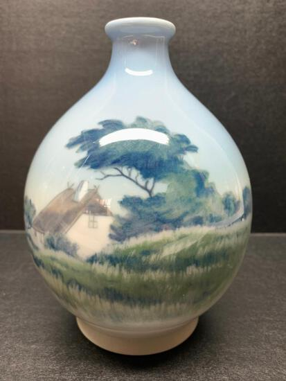"""Royal Copenhagen Porcelain Vase w/Cottage Design. This is 7"""" Tall - As Pictured"""