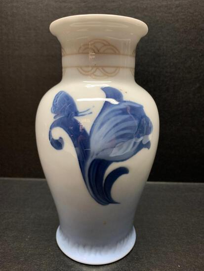 "Royal Copenhagen Porcelain Vase w/Flower Design. This is 7.5"" Tall - As Pictured"